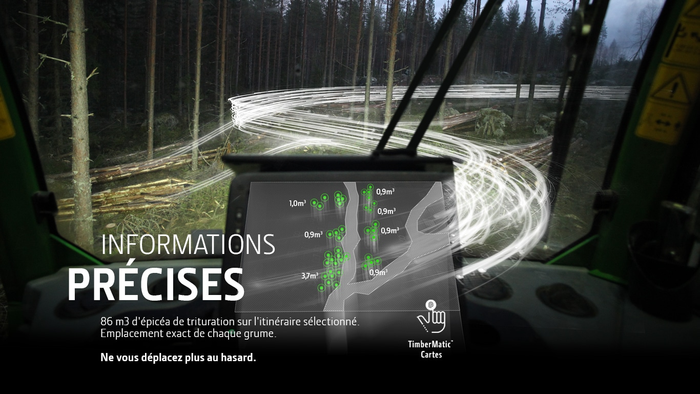 TimberMatic Cartes. Informations PRÉCISES. Emplacement exact de chaque grume.